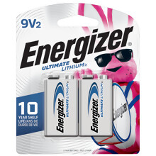 L522BP2 <i>Energizer</i><sup>®</sup> Ultimate Lithium<sup>™</sup> 9V-2 pack