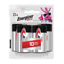 E95BP4 <i>Energizer</i> MAX<sup>®</sup> D-4 pack