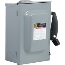 Square D General Duty Safety Switches 100A 2P Type3R 120/240VAC General Duty Safety Switch with Solid Neutral