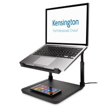 K52784WW Kensington® SmartFit® Laptop Riser with Qi Wireless Phone Charging Pad