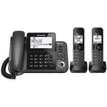Panasonic KX-TG592SK Link2Cell Bluetooth® Corded / Cordless Cordless Phone and Answering Machine with 2 Cordless Handsets
