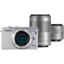 Canon EOS M100 White + EF-M 15-45mm IS STM Lens Silver + EF-M 55-200mm IS STM Lens Silver