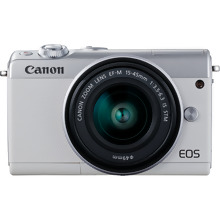 Canon EOS M100 White + EF-M 15-45mm f/3.5-6.3 IS STM Lens Silver + irista 50GB