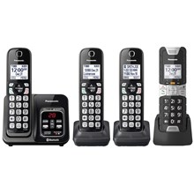 Panasonic KX-TGD584M2 Link2Cell Bluetooth® Cordless Phone with Voice Assist and Answering Machine - 3 Standard Handsets + 1 Rugged Handset