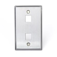 Leviton 43080-1S2 QuickPort Wallplate, Single Gang, 2-port, Stainless Steel