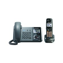 Panasonic KX-TG9391T 2-Line DECT 6.0 Expandable Digital Corded/Cordless Answering System with 1 Handset, Black Metallic