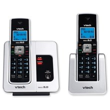 VTECH LS6215-2 DECT 6.0 Black/White Expandable 2-Handset Cordless Phone System with Caller ID and Handset Speakerphone