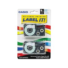 "Casio XR9WEB2S Tape Cassettes for EZ-Label Printer, 3/8"", White/Blue, 2/Pack"
