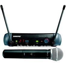 Shure PGX24PG58H6 PGX Series Wireless Microphone System - Includes: PGX4 Receiver and PX2 Handheld Transmitter with PG58 Microphone Head J6/572.250 - 589.875MHz