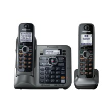 Panasonic KX-TG7645M DECT 6.0 Link-to-Cell via Bluetooth Cordless Phone with Anwering System, Metallic Gray, 5 Handsets
