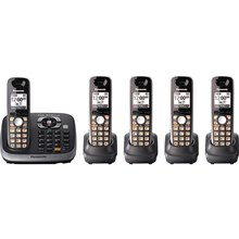 Panasonic KX-TG6545B Expandable Digital Cordless Phone with Answering System with 5 handset