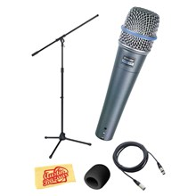 Shure BETA57A Beta 57A Instrument Microphone Bundle with Samson MK10 Boom Mic Stand and 20-Foot XLR Mic Cable