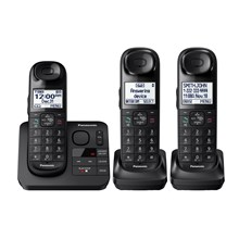 Panasonic Expandable Cordless Phone with Comfort Shoulder Grip and Answering Machine- 3 Handsets - KX-TGL433B