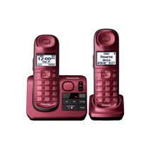 Panasonic Expandable Cordless Phone with Comfort Shoulder Grip and Answering Machine- Red - 2 Handsets - KX-TGL432R