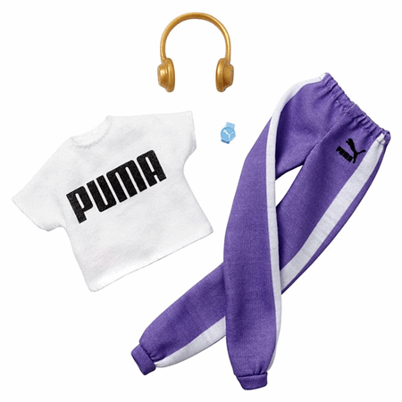 NEW 2020 Barbie Puma Purple /& White Sweat Pants ~ Made To Move Doll Clothing